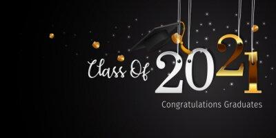 Naklejka 2021 Graduation with Cap Vector. Class of 2021 Year Graduation Banner. Banner for Graduation Greeting Card. Lettering Class of 2021 for Greeting and Invitation Card.