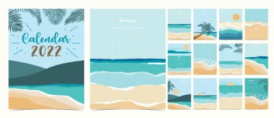 Naklejka 2022 table calendar week start on Sunday with beach and sea that use for vertical digital and printable A4 A5 size
