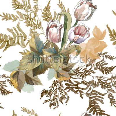 Naklejka 3 białe tulipany i trawa akwarela na białym tle bezszwowe wzór dla tkanin, papier