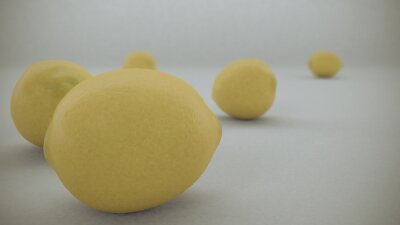 Naklejka 3 D render of Yellow lemons on a white background fell from  air and rolled on the white infinite surface.