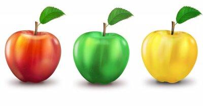 Naklejka 3 Jabłka rot, Grün, gelb, freigestellt