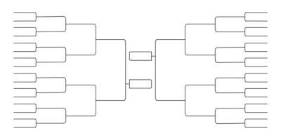 Naklejka 32 team tournament bracket championship template flat style design vector illustration isolated on white background. Championship bracket schedule for soccer, football, basketball, baseball or tennis.