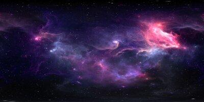 Naklejka 360 degree equirectangular projection space background with nebula and stars, environment map. HDRI spherical panorama