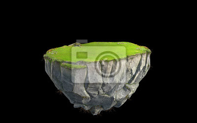 Naklejka 3D fantasy floating island with green grass land isolated on black, surreal float rock mountain with paradise concept 3d illustration