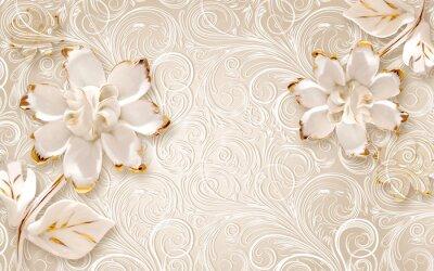 Naklejka 3d illustration, beige ornamental background, large white abstract gilded flowers