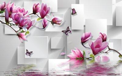Naklejka 3d illustration, light background, rectangles, butterflies, magnolia