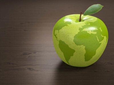 Naklejka 3d jabłko Świat Zdrowia