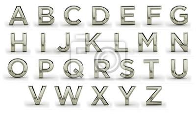 3d melal font, all letters. Silver, iron, plainum, aluminium.  Latin, english alphabet. Render, metal texture, on white background.