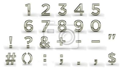 3d melal font, punctuation marks. Silver, iron, plainum, aluminium.  Latin, english alphabet. Render, metal texture, on white background.