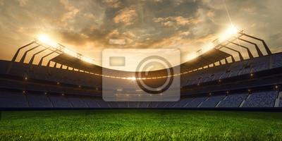Naklejka 3d render emptry stadion wieczorem