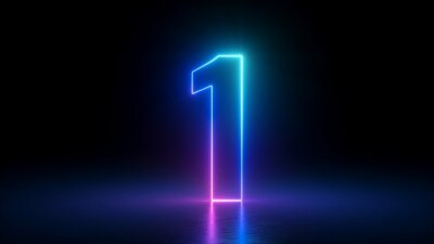 Naklejka 3d render, number one glowing in the dark, pink blue neon light