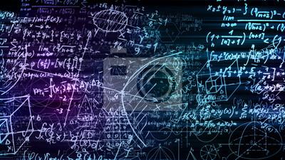 Naklejka 3D rendering abstrakcjonistyczni bloki matematycznie formuły lokalizować w wirtualnej przestrzeni