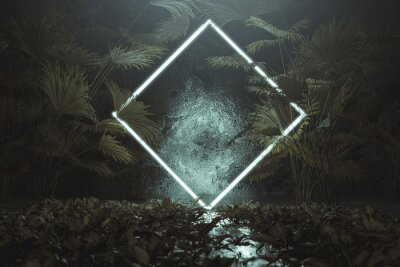 Naklejka 3d rendering of blue lighten square shape with light beam surrounded by palm leaves