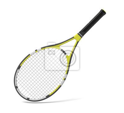 Naklejka 3d rendering profesjonalnej rakiety tenisowej z czarnymi i żółtymi paskami.