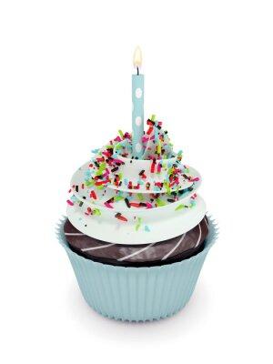 Naklejka 3d słodkie ciastko z świeca odizolowane na białym