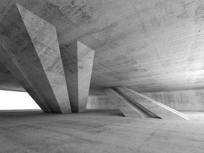 Naklejka 3d streszczenie puste betonowe wnętrze pokoju