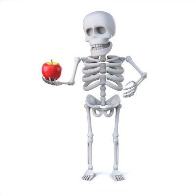 Naklejka 3d Szkielet przyniósł jabłko dla nauczyciela
