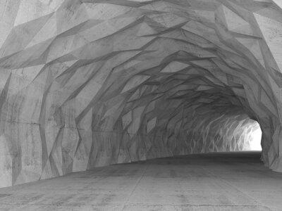 Naklejka 3d tunelu wnętrze z chaotycznym wielokąta ulgi