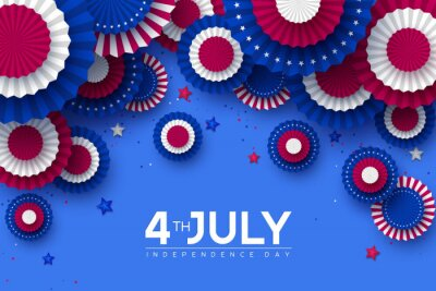 Naklejka 4th of July, USA Independence day banner. Paper fans in colors of American flag with confetti and stars. Vector illustration.