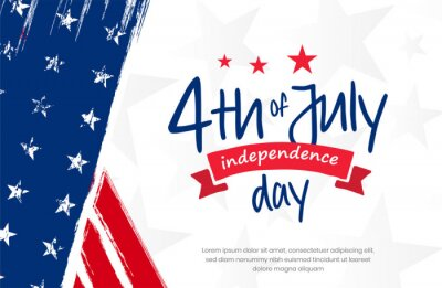 Naklejka 4th of July, USA, United States of America independence day celebration design on grunge American vintage flag background use for sale banner, discount banner, advertisement banner, social media etc.