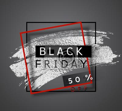 50 off zniżki plakat sprzedaży. Oferta wektorowa z błyszczącym srebrnym pędzlem i czerwoną ramką. Baner promocyjny na projekt Black Friday.