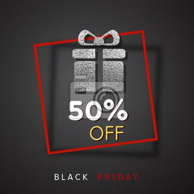 50 off zniżki sprzedaży plakat na czarnym tle. Oferta wektorowa z błyszczącą srebrną folią i czerwoną ramką. Pięćdziesiąt procent banera promocyjnego na projekt Black Friday.