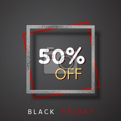50 off zniżki sprzedaży plakat na czarnym tle. Oferta wektorowa z błyszczącą srebrną ramką z folii. Baner promocyjny na projekt Black Friday.