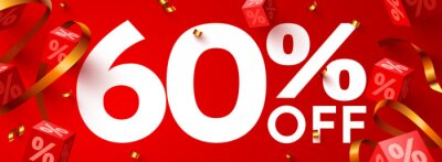 Naklejka 60 percent Off. Discount creative composition. 3d mega sale symbol with decorative objects. Sale banner and poster.