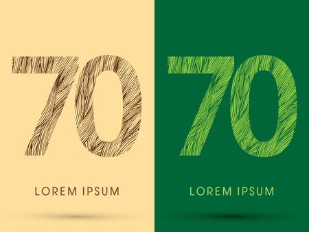 70, czcionka, linia obrysu, drewno i liść, trawa, wektor graficzny.