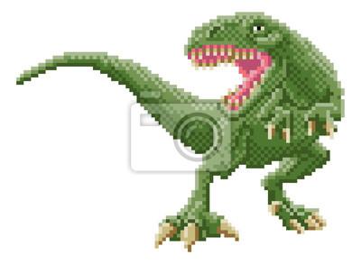 Naklejka 8-bitowa gra wideo zręcznościowa z dinozaurami
