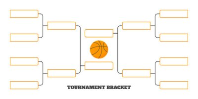 Naklejka 8 team tournament bracket championship template flat style design vector illustration isolated on white background. Championship bracket schedule for basketball game.
