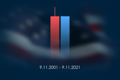 Naklejka 9/11 USA Never Forget September 11, 2001. Vector illustration cover. Blurred Twin Towers WTC Patriot day, USA Blurred Flag Day of Remembrance, Memorial Day United States. 11.09.2001. Never Forget