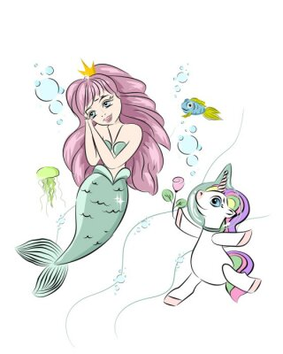 Naklejka A beautiful mermaid and a unicorn. The unicorn swims with a mermaid and gives her a flower. Postcard with a mermaid. Style doodle. Print for t-shirts and baby clothes, cards, posters and any design.