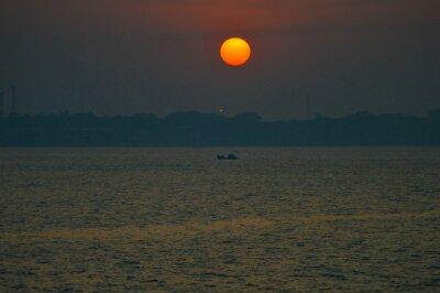 Naklejka A beautiful seascape in Arabian sea while on a boat trip to Elephanta caves from Gateway of India