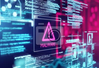 Naklejka A computer screen with program code warning of a detected malware script program. 3d illustration