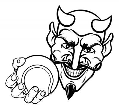 A devil or satan tennis sports mascot cartoon character holding a ball