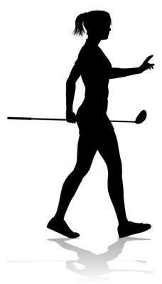 A female golfer sports person playing golf