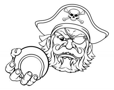 A pirate tennis sports mascot cartoon character holding a ball