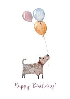 Naklejka A przytulne Happy Birthday karty dokonane w akwarium z ilustracj? Ma? Ego psa gospodarstwa kilka balonów. Na urodziny najdroższego przyjaciela!