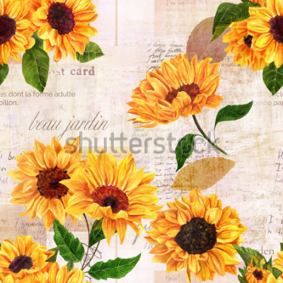 Naklejka A seamless pattern with hand drawn vibrant yellow watercolor sunflowers on the background of old letters, postcards, and newspaper scraps mockups, vintage style floral repeat print