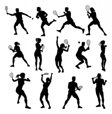 Naklejka A set of tennis player man and woman silhouette sports people design elements