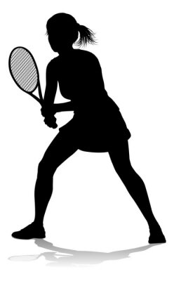 A tennis player woman female sports person in silhouette