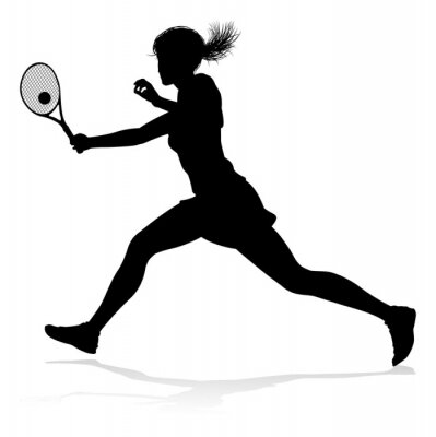 A tennis player woman silhouette sports person design element