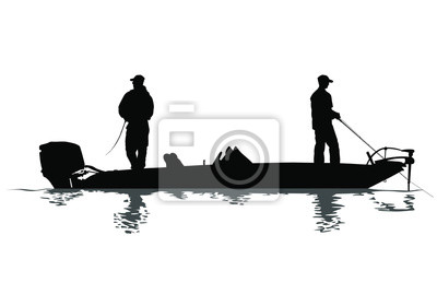 Naklejka A vector silhouette of two men fishing on a bass boat.