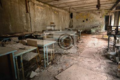 Naklejka Abandoned Classroom in School number 5 of Pripyat, Chernobyl Exclusion Zone 2019