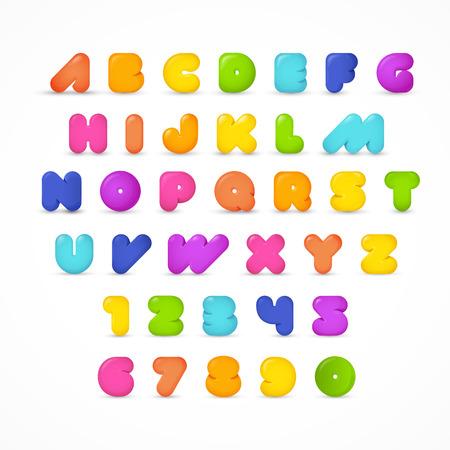 ABC stylowy zaokrąglony nowoczesny gummy pop plakat zestaw wektor napis. Pełna czcionka alfabetu łacińskiego alfabetu łacińskiego.
