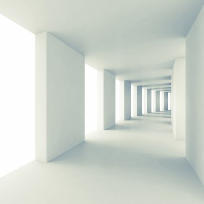 Naklejka Abstract architecture 3d background, empty white corridor