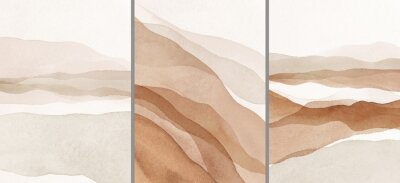 Naklejka Abstract Arrangements. Landscapes, mountains. Posters. Terracotta, blush, pink, ivory, beige watercolor Illustration and gold elements, on white background. Modern print set. Wall art. Business card.