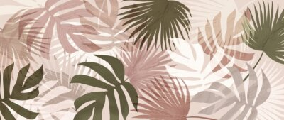 Naklejka Abstract art tropical leaves background vector. Wallpaper design with watercolor art texture from palm leaves, Jungle leaves, monstera leaf, exotic botanical floral pattern. Design for banner, cover,