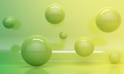 Abstract background gradient green and yellow with flying spheres. 3d rendering